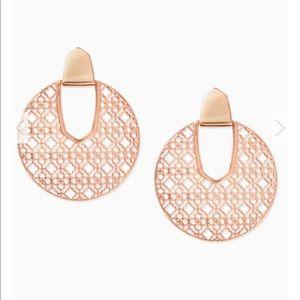 Diane rose gold filigree statement earrings